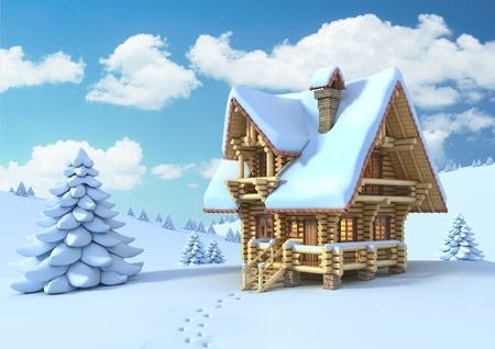 log in: winter or Christmas scene - log house in a mountain  Stock Photo