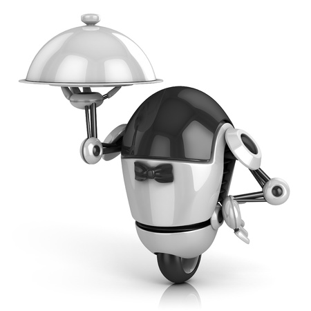 servant: funny robot - waiter 3d illustration isolated on the white background