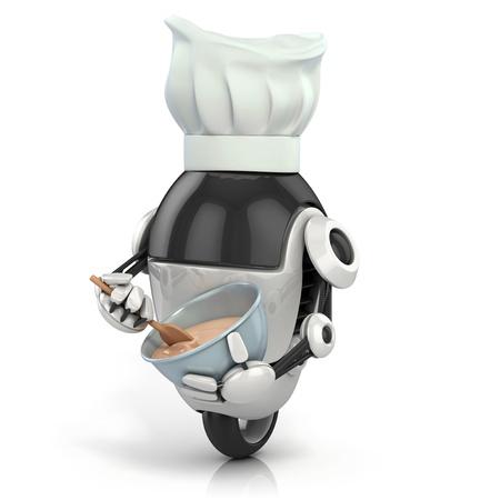 funny robot: Robot dr�le - cuisinier avec le chapeau du chef faisant le dessert - 3d illustration isol� sur le fond blanc