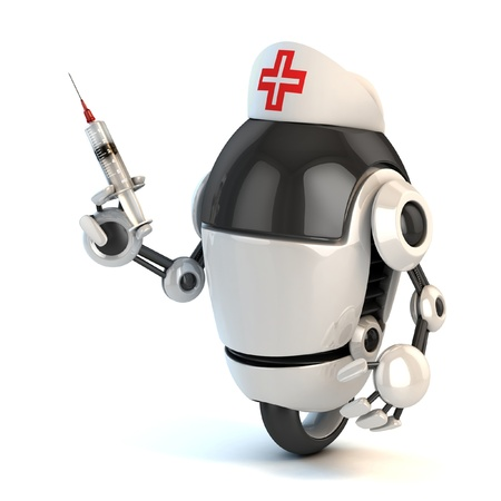funny robot: robot nurse holding the syringe 3d illustration  Stock Photo