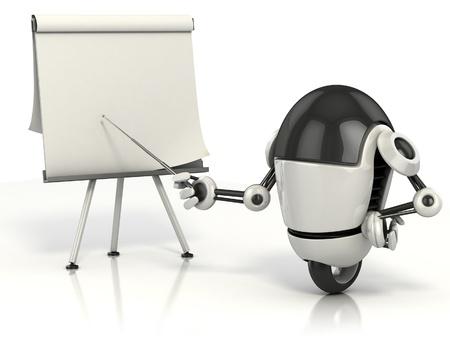 robot caricatura: robot apuntando en la pizarra en blanco