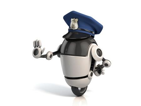 funny robot: policier robot de Banque d'images