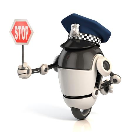 gorra polic�a: robot polic�a de tr�nsito la celebraci�n de la se�al de stop