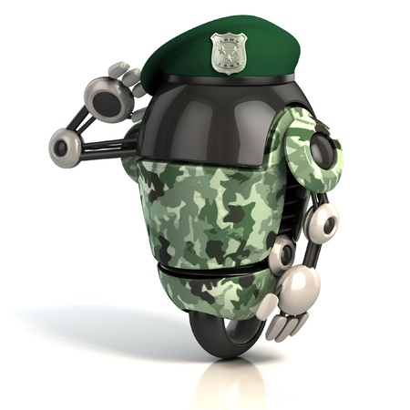 funny robot: robot soldier 3d illustration