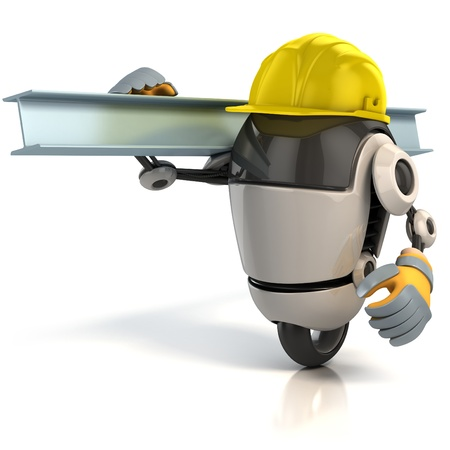 robot cartoon: 3d robot construction worker