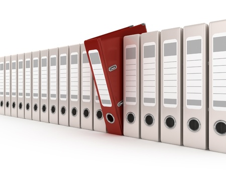 red ring binder standing out from a row of files Stock Photo - 12331415