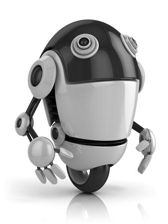 funny robot: dr�le de robot 3d illustration isol� sur le fond blanc