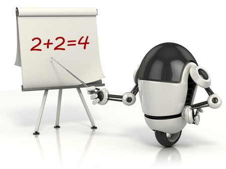 funny robot: robot teaching math 3d illustration