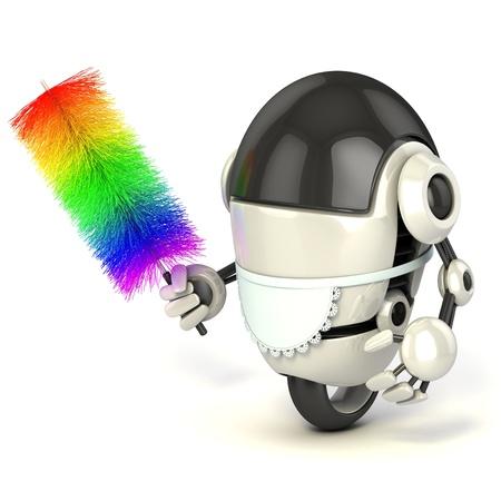 sirvientes: robot divertido 3d en el uniforme de sirvienta sosteniendo el plumero aislado en el fondo blanco Foto de archivo