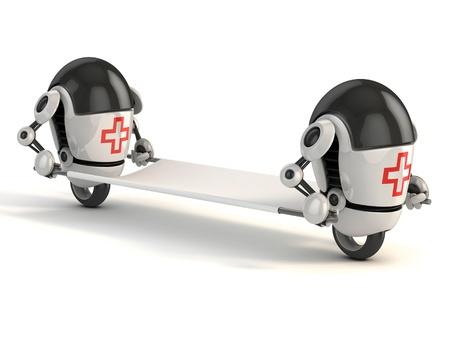 enfermero caricatura: dos del robot m�dico con la camilla - 3D de la historieta divertida, como los robots como de primeros auxilios Foto de archivo