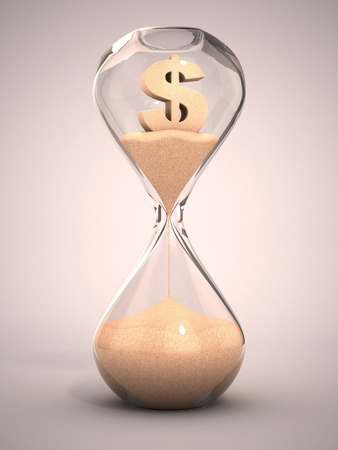 time of the year: spending money or out of money concept - hourglass, sandglass, sand timer, sand clock with dollar sign shaped sand 3d illustration