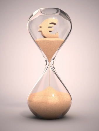 spending money: spending money or out of money concept - hourglass, sandglass, sand timer, sand clock with euro sign shaped sand 3d illustration