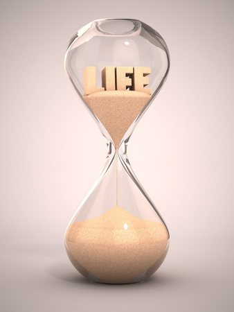 hour glass: life time passing concept - hourglass, sandglass, sand timer, sand clock 3d illustration  Stock Photo