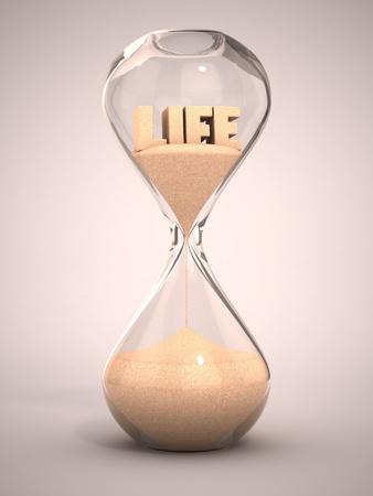 sand clock: tempo di vita che passa concetto - clessidra, clessidra, clessidra, orologio illustrazione sabbia 3d Archivio Fotografico