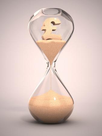 fin de ao: el gasto de dinero o de concepto de dinero - reloj de arena, reloj de arena, reloj de arena, reloj de arena con la ilustraci�n de s�mbolo de la almohadilla en forma de arena 3d Foto de archivo