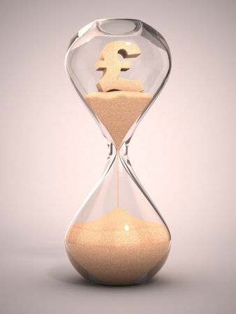spending money or out of money concept - hourglass, sandglass, sand timer, sand clock with pound sign shaped sand 3d illustration  illustration