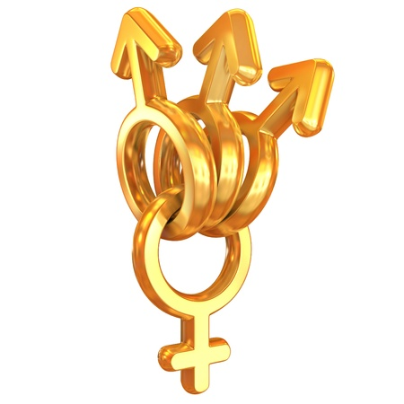 Adultery or a polygamy 3d concept - many male symbols attached on one female symbol  Stock Photo - 12331427