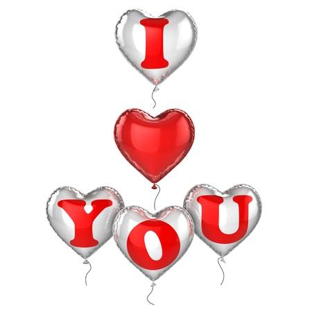 mujer enamorada: i love you globos 3d ilustración Foto de archivo