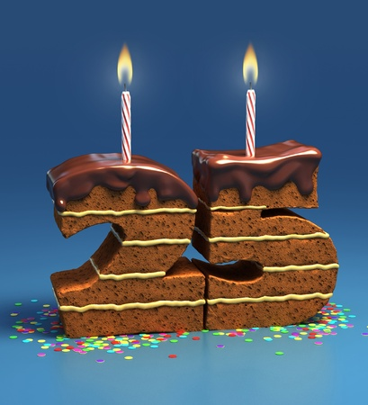 quarters: Chocolate birthday cake surrounded by confetti with lit candle for a twenty-fifth birthday or anniversary celebration  Stock Photo