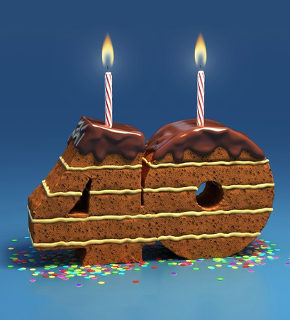 Chocolate birthday cake surrounded by confetti with lit candle for a fortieth birthday or anniversary celebration Stock Photo - 12558198