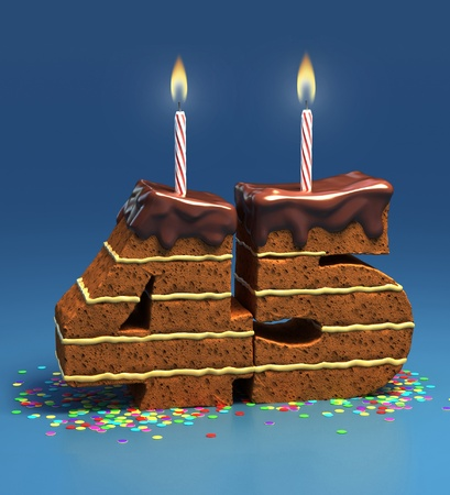 Chocolate birthday cake surrounded by confetti with lit candle for a forty-fifth birthday or anniversary celebration  photo