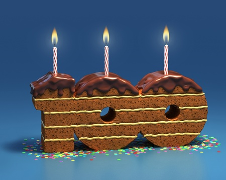 special events: surrounded by confetti with lit candle for a one hundredth birthday or anniversary celebration