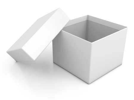 white blank open box isolated over white background  photo