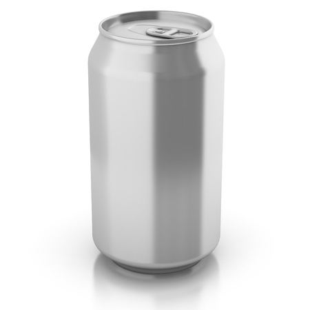 blank aluminium can isolated on a white background - customize by inserting your own text or logo  photo