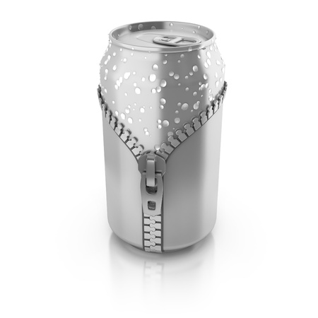 unzipped: new fresh drink 3d concept - aluminium can unzipped