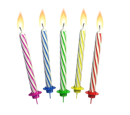 colorful lit candles isolated over white  Stock Photo - 12558255