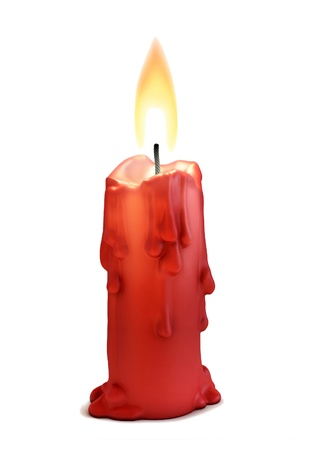 burning love: burning candle isolated over white
