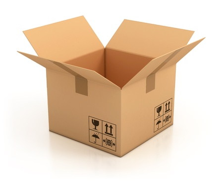 moving office: open empty cardboard box 3d illustration, isolated on white background  Stock Photo