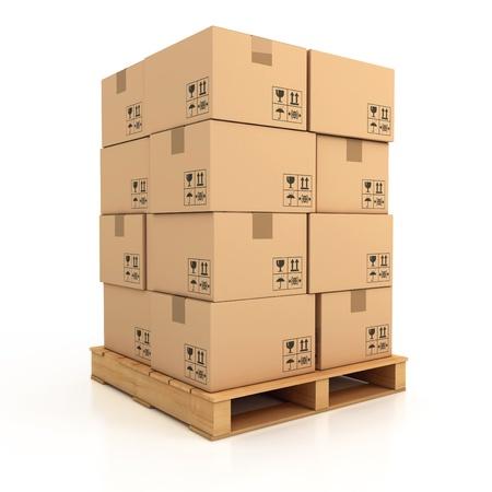 palet: cajas de cart�n en 3d ilustraci�n madera paleta Foto de archivo