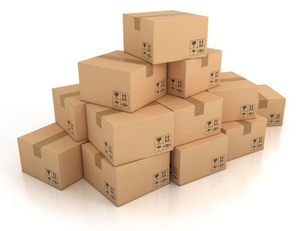 storage container: cardboard boxes  Stock Photo
