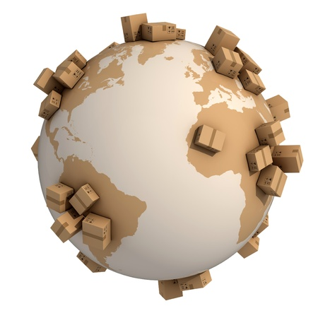 international shipping: cardboard boxes around the world - global shipment 3d concept