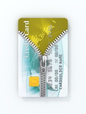 unzipped credit card 3d concept  photo