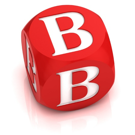 red dice: dice font letter B