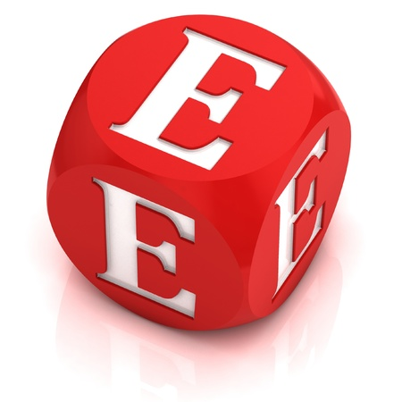 red dice: dice font letter E  Stock Photo