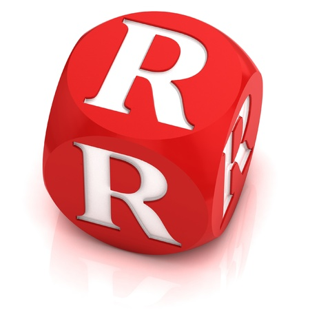 R: dice font letter R  Stock Photo