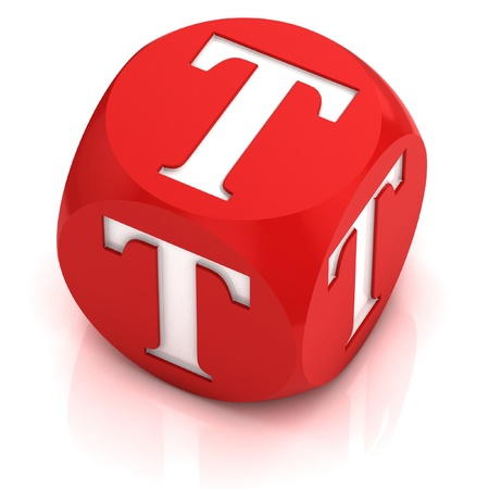 red dice: dice font letter T