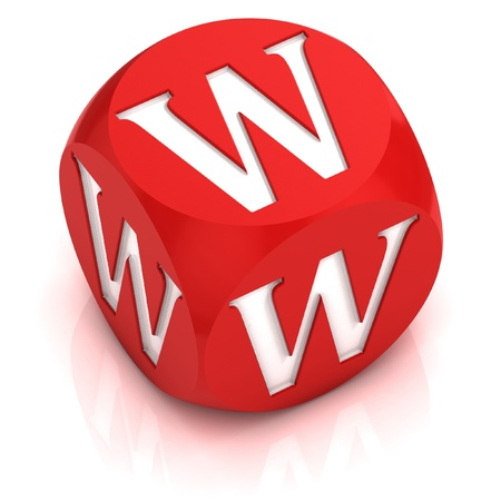 red dice: dice font letter W  Stock Photo