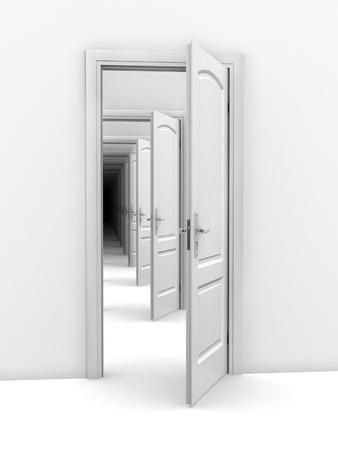 laberinto: puerta de resumen ilustraci�n - la oportunidad, la frustraci�n, el infinito concepto de 3d Foto de archivo