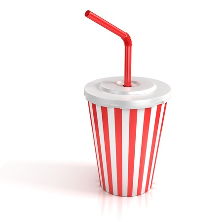 fast food paper cup with red tube  photo