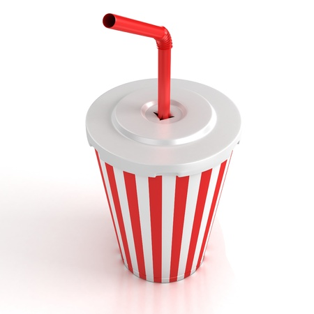 fast food paper cup with red tube 3d illustration  illustration