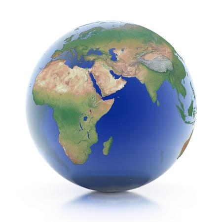 transparent globe 3d illustration - planet earth isolated over white background  illustration