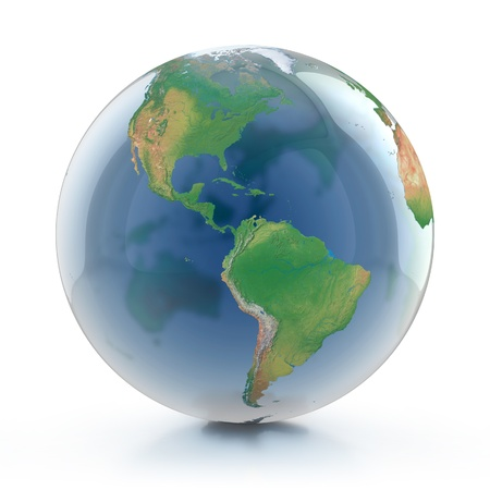 south east: transparent globe 3d illustration - planet earth isolated over white background