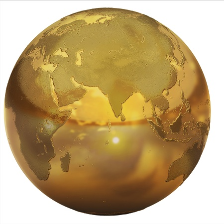 international recycle symbol: golden globe  Stock Photo