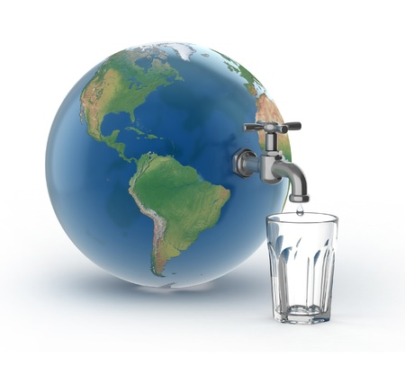 overpopulation: drinking water crisis - eco concept  Stock Photo