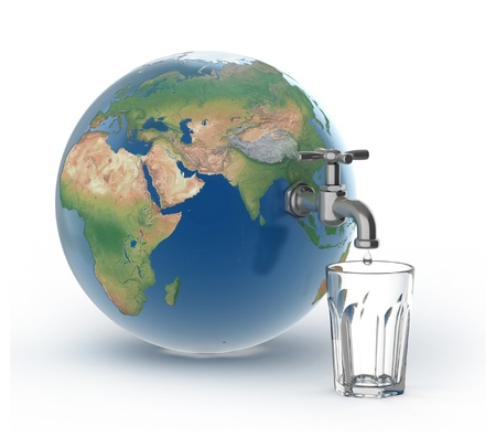 shortage: drinking water crisis - eco concept  Stock Photo