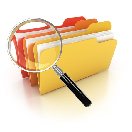 folders search 3d icon - folders under the magnifier isolated on white  photo